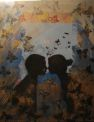 """First kiss"", photo collage, acryl, gilding"