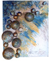 """Sounds of the sea"" canvas, acryl, foam plastic, plastic, textile, silver, gilded 50,0 х 60,0"