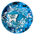"plate ""Harmony of the afternoon"" ceramics, acryl, foam plastic, plastic, textile, sand stone, silver 25,0 х 25,0"